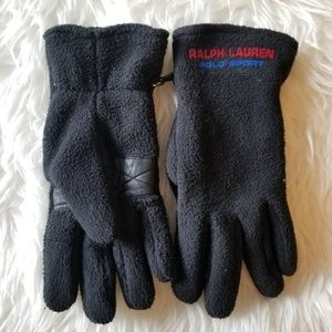 Ralph Lauren Polo Sport Black Gloves Leather Palm